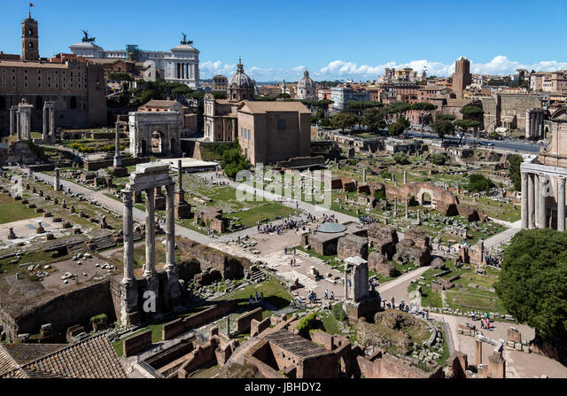 High level view of the Roman Forum in the city of Rome, Italy. - Stock Image