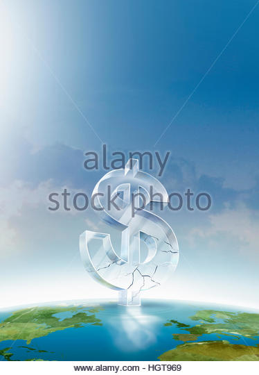 Cracked glass dollar sign on top of globe - Stock-Bilder