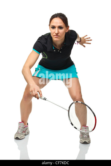 portrait of caucasian woman play badminton - Stock Image