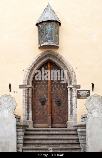 Entrance to the Great Guild Hall and Estonian History Museum in Tallinn, the capital of Estonia. - Stock Image