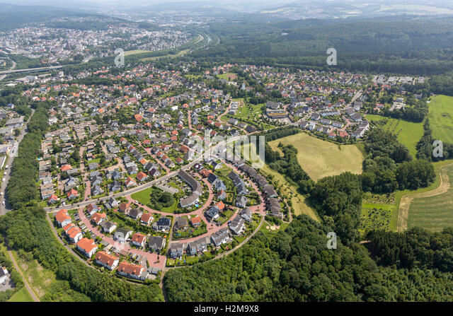 Aerial view, settlement Anton-pity path Bergheim, Aerial view of Arnsberg Sauerland, North Rhine-Westphalia, Germany, - Stock Image