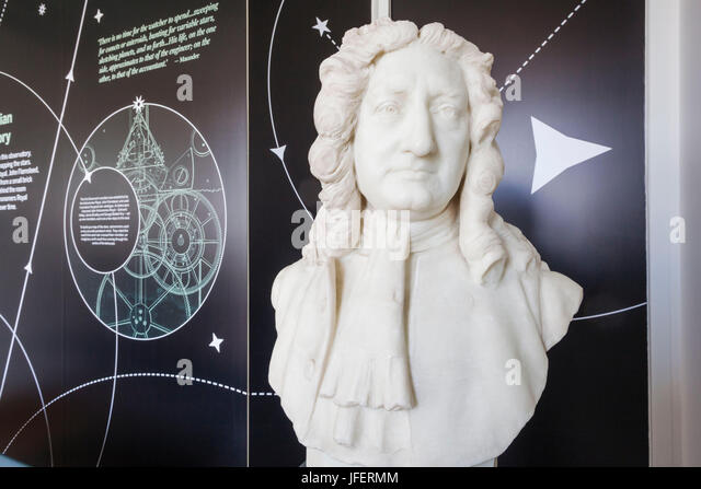 England, London, Greenwich, Royal Observatory, Meridian Building, Bust of Edmond Halley - Stock Image