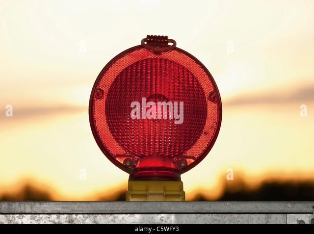 Germany, Red warning light for construction site - Stock-Bilder