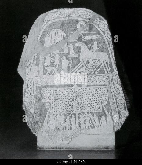 Stele depicting Norse Mythology - Stock Image