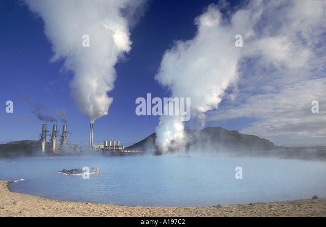 Geo Thermal power plant in the Svartsengi Black Field Area Its Blue lagoon is popular with bathers amp good for - Stock Image