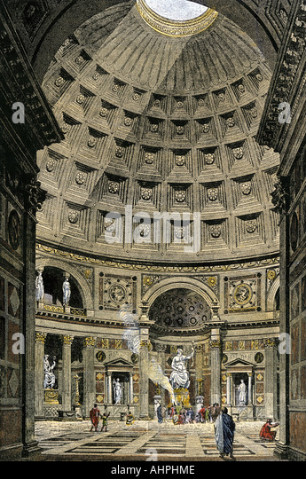 Interior of the Pantheon in ancient Rome - Stock Image