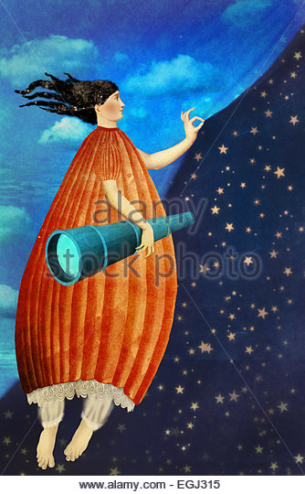 girl unfolding the curtain revealing nigh sky - Stock Image