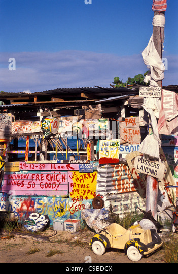 Bomba Shack, Tortola, exterior showing full moon party signs, British Virgin Islands - Stock Image