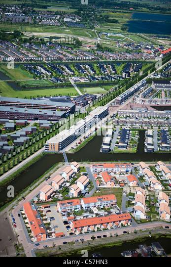 The Netherlands, Utrecht, Modern residential house construction. Aerial. - Stock-Bilder