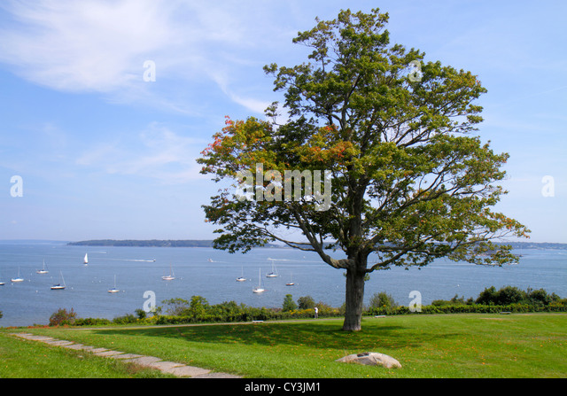 Maine Portland Casco Bay Fort Ft. Allen Park scenic lawn tree water - Stock Image