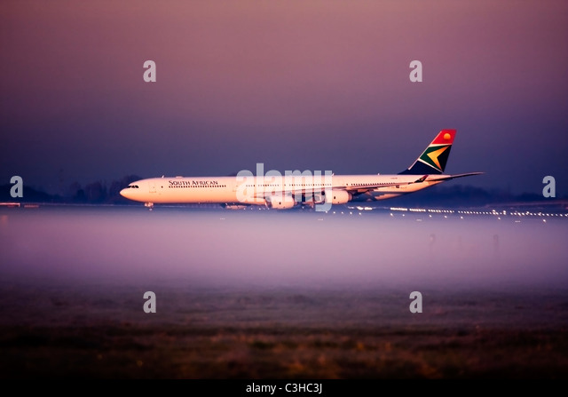 South African Airways Airbus A340-642 at London Heathrow Airport, UK - Stock Image