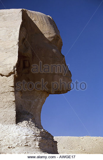 Egypt Africa Middle East Cairo Giza District Sphinx Pharaoh Khephren face lion body rock carving 66 foot height - Stock Image