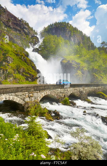 Latefossen waterfall, Hordaland, Norway - Stock-Bilder