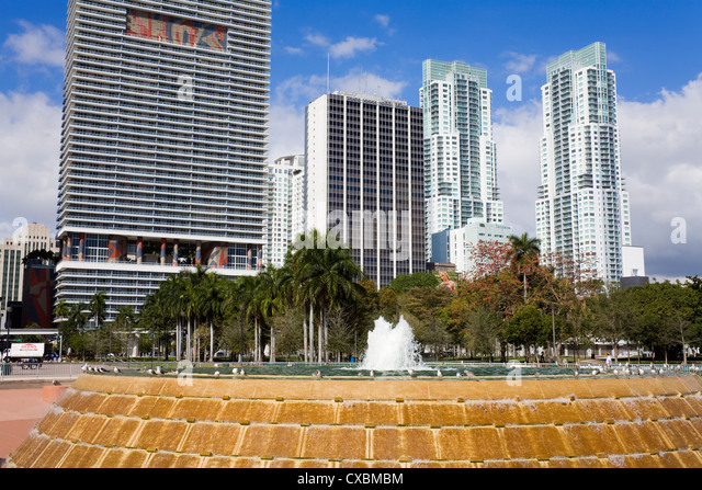 Fountain in Bayfront Park, Miami, Florida, United States of America, North America - Stock Image