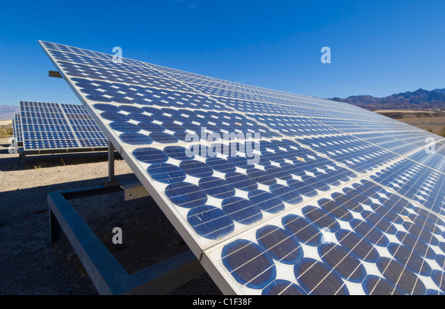 a solar photovoltaic (PV) energy system at Furnace Creek resort Death Valley National Park California usa - Stock Image