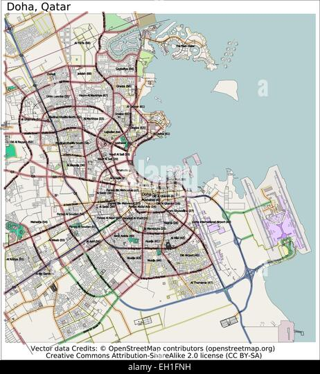 Doha Qatar United Arab Emirates city map - Stock Image