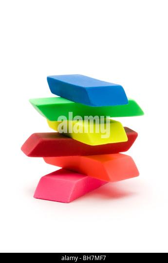 erasers on white - Stock Image