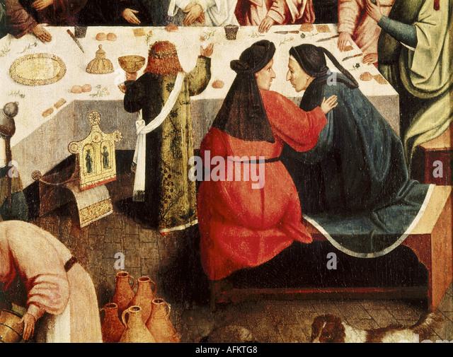 'fine arts, religious art, painting, 'marriage feast at Cana', unknown artist, after 1554, oil on panel, - Stock-Bilder