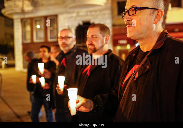San Francisco, California, USA. 27th Nov, 2013. People with candles preceding a march that was held to mark the - Stock Image
