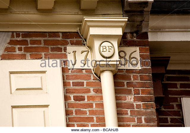 The cornerstone of Franklin Court, the home of Benjamin Franklin. - Stock Image