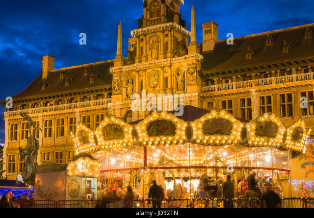 Christmas Market and Stadhuis City Hall, Grote Markt, Antwerp Belgium - Stock Image