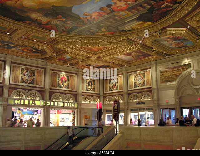 Las Vegas Venetian Hotel and Casino colorful ceiling painting religious theme art elaborate decoration bright colors - Stock Image