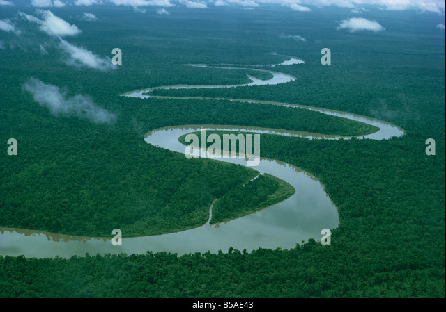 Meandering river, Irian Jaya, Indonesia, Southeast Asia - Stock Image