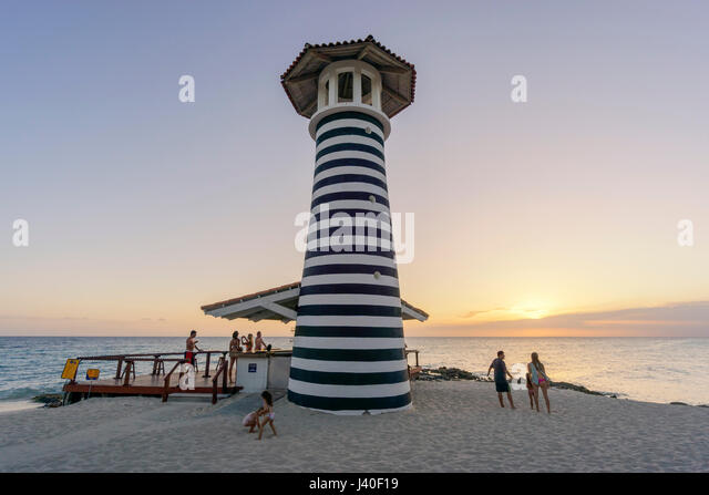 Playa Dominicus, The Lighthouse Beach Bar, sunset,  Iberostar Hacienda Dominicus, La Romana, Dominican Republic - Stock Image
