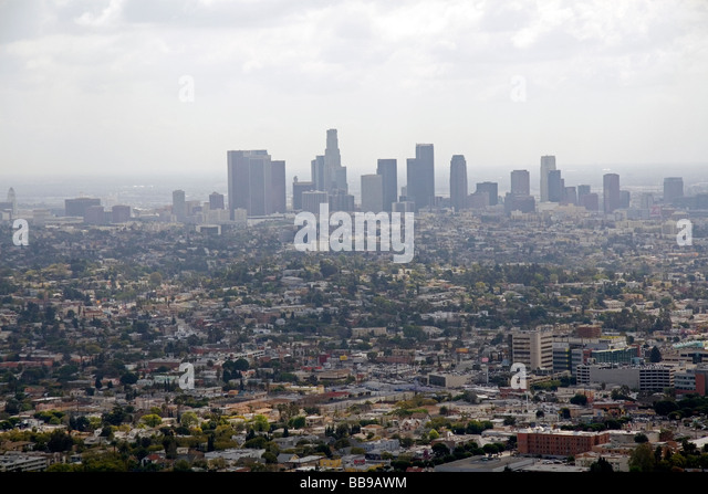 View of Los Angeles and smog from the Griffith Observatory Los Angeles California USA  - Stock Image