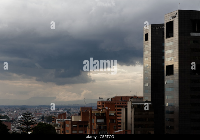 A storm is gathering over Bogota, Colombia - Stock Image