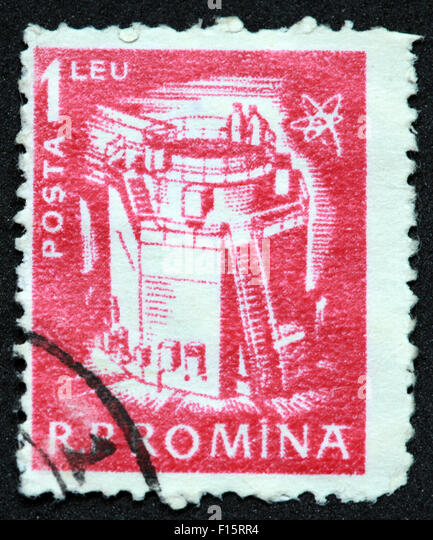 RP Romina 1leu Posta red stamp - Stock Image