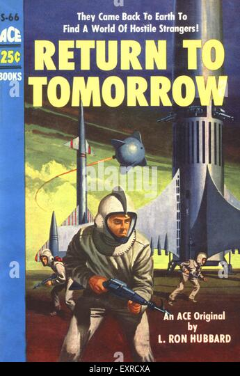 1950s USA Return To Tomorrow by L Ron Hubbard Book Cover - Stock Image