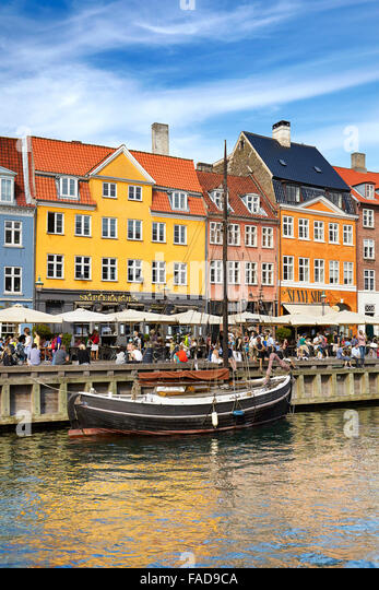The boat in Nyhavn Canal, Copenhagen old town, Denmark - Stock Image