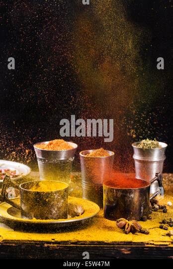 Exploding of spices - Stock Image