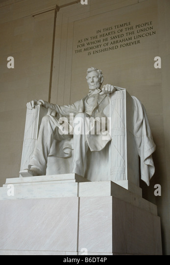 Statue of 16th United States President Abraham Lincoln at the Lincoln Memorial in Washington DC USA - Stock Image