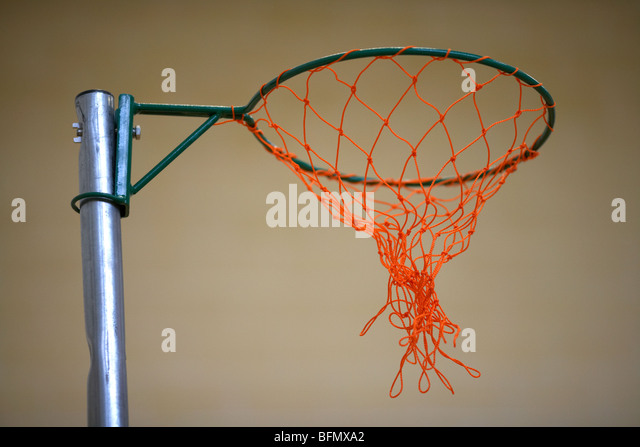 netball net in a school gym sports hall selective focus - Stock Image