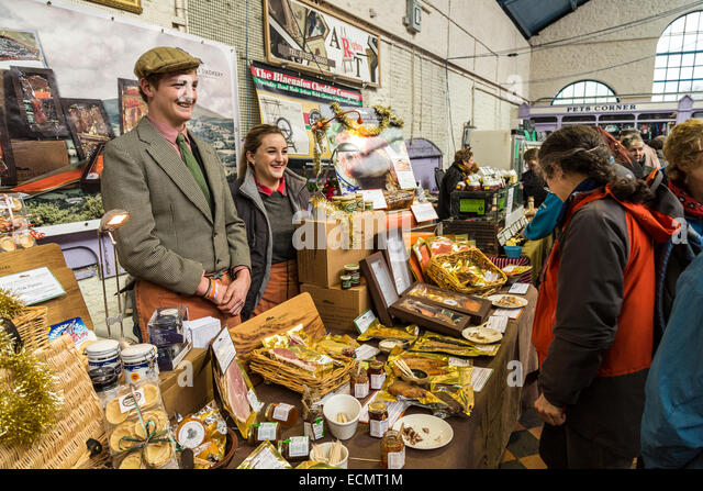 Market stall at the Christmas Food Festival, Abergavenny, Wales, UK - Stock Image
