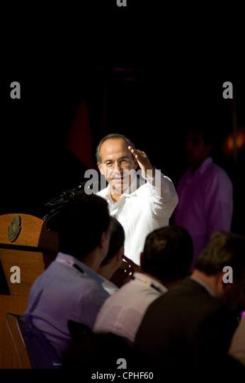 President Felipe Calderon  addressing crowd at World Travel Tourism Council the Americas Summit at the Riviera Maya - Stock-Bilder