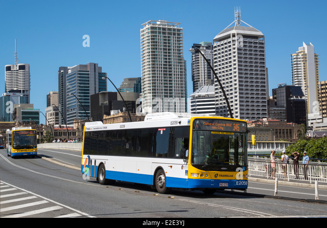 Brisbane Australia Queensland Southbank Central Business District CBD Victoria Bridge Cultural Centre center bus - Stock Image