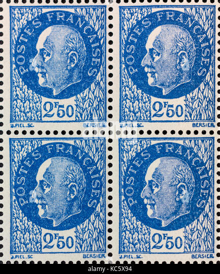 Unused block of Maréchal Pétain stamps from 1941 - France. - Stock Image