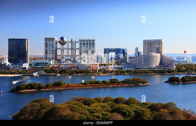 Tokyo Japan Asia Far East architecture Odaiba Fuji TV ball sphere bay water traveling place of interest landmark - Stock Image
