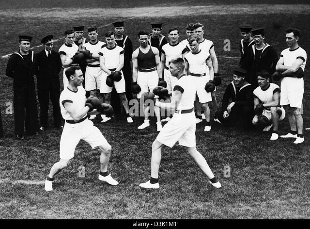Royal Navy boxing C.1939 - Stock Image