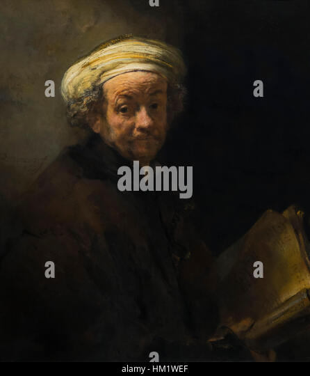 Self-portrait as the Apostle Paul, by Rembrandt, 1661, oil on canvas, Rijksmuseum, Amsterdam, Netherlands, Europe, - Stock Image
