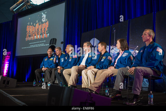 The crew of STS-125, the final Hubble Servicing Mission, participate in a panel discussion as part of an event celebrating - Stock Image