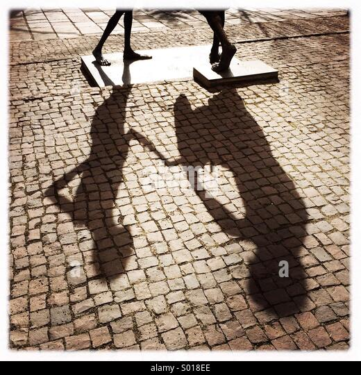 Shadow of a statue in Sindelfingen Germany - Stock Image