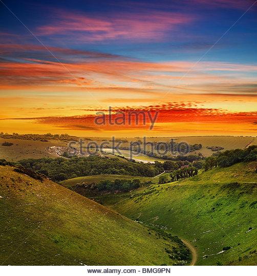 Evening landscape sunset over Devil's Dyke - west sussex -uk - Stock Image