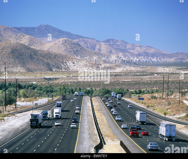 highway California California Interstate 10 Palm Springs valley overview USA America North America wind tu - Stock Image