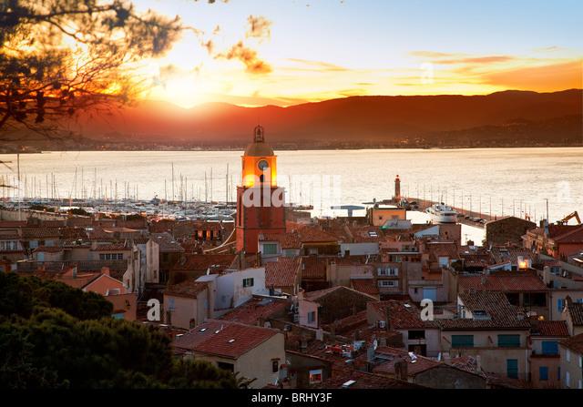 Europe, France, Var, St Tropez at Sunset - Stock Image