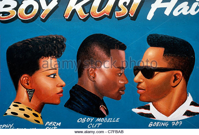 Sign showing hair styles available outside a Barber shop in Ghana - Stock-Bilder