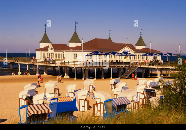 Usedom Ahlbeck beach chairs art nouveau wooden pier - Stock Image